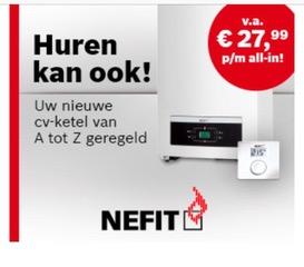 Huren cv-ketel via Nefit in samenwerking met Goois Verwarmings- en Installatiebedrijf Robert van der Poel